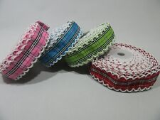 2 metres or 10 metre Roll 25mm Tartan Scalloped Edge Ribbon Cotton Vintage UK