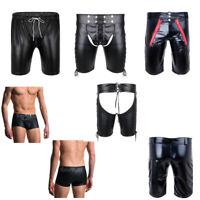 Men Sexy Faux Leather Lingerie Shorts Boxer Brief Panty Trunk Underwear Clubwear