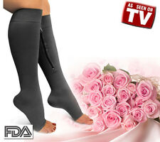 New Zippered Compression Knee Socks Leg Support Open Toe Stockings Black Large