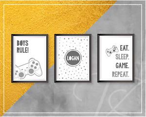 Gaming Prints Personalised Wall Art Gamer Eat Sleep Game Repeat Teen Bedroom A4
