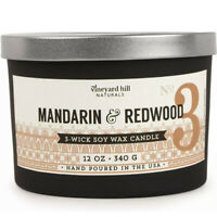 Vineyard Hill Naturals Mandarin & Redwood Candle 12oz 3 Wick Soy Wax Hand Poured