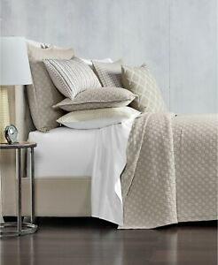 Hotel Collection Quilted FULL/QUEEN Coverlet Diamond Embroidered Beige T94140