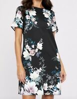 BNWT LIPSY black lotus floral satin shift dress size 14 euro 42
