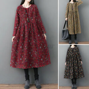 ZANZEA Womens Floral Printed Midi Dress Long Sleeve Casual Loose Shirt Dresses
