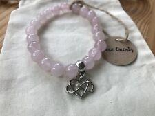 Rose Quartz Infinity Heart Charm Elasticated Bracelet New in Gift Bag Love
