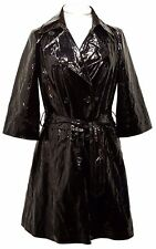 Black Genuine PATENT LEATHER Trench Coat Womens Size 8 WD NY