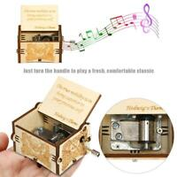 Retro Wooden Engraved Music Box Hand Cranked Musical Toys Home Decor Kids Gift