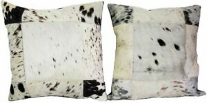 "Cowhide Pillows Cushion Cover Leather Hair on Cow Hide Skin Patchwork 15"" x 14"""