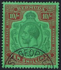 Bermuda 1924 SG92 10/- Green and Red Broken Leaf Flaw 54a STATE ONE