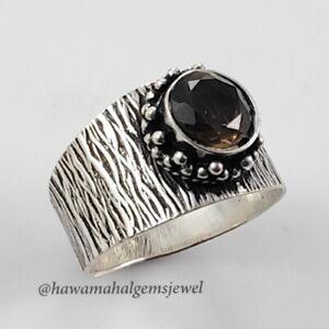 925 Solid Smoky Quartz Ring Handmade Silver Cut Stone Rings Round Top Quality