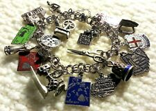 """Vintage Elco Link Sterling Silver Charm Bracelet & 17 Charms, 57 g.7.50"""" Sewing"""