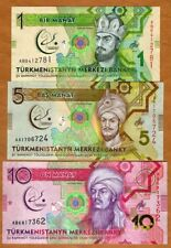 SET Turkmenistan, 1;5;10 Manat, 2017 P-New, UNC > Commemorative