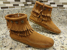 ~MINNETONKA~  BOOTS WOMEN  7 M BROWN FRINGES LEATHER FASHION ANKLE FLAT