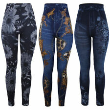 Unbranded Denim Look Regular Size Leggings for Women