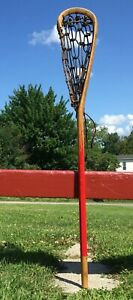 """VERY NICE Vintage Wooden LACROSSE STICK 42"""" Long LAX Signed LUC DELORME"""