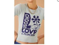 Urban Outfitters Choisir Amour & Fleurs T-Shirt Coton Bio Bleu VERT S M Neuf