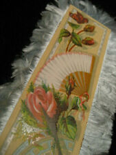 Antique Victorian Blue Silk Fringe Greeting Card Roses & Fan 3.5 x 7.5""