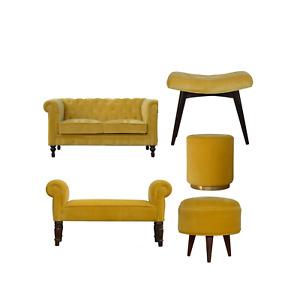 Mustard Yellow Luxury Soft Velvet 2 Seater Chesterfield Sofa Stool Bench Bedroom