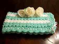 NEW Handmade Crochet Baby Blanket Afghan ( White Green ) Newborn