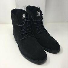 VERSUS VERSACE Lion Head Suede Ankle Boots - Black - UK 8/EU 42
