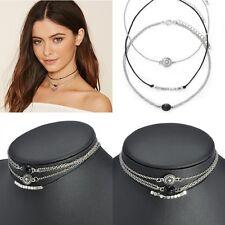3pcs Women Vintage Black Charm Chain Choker Chunky Statement Bib Necklace