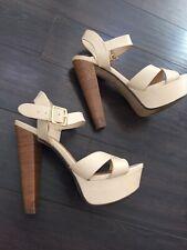 Nude High Heel Wooden Chunky Block Platform Heels Super High Wide Width
