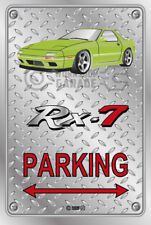 Parking Sign Metal Mazda RX7 Series 4 - Lime Green - Checkerplate Look