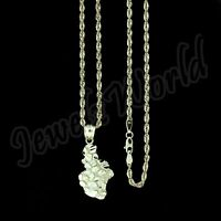 Real 10K Yellow Gold Nugget Charm Pendant & 2.5mm Rope Chain Necklace Set