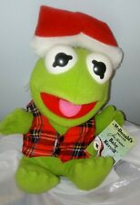 McDonalds 1987 Baby Kermit The Frog With Santa Hat Plush Toy Vintage Jim Henson