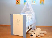 Krone Bett Blau Babybett Kinderbett 120x60 Baby Bett komplett mit Bettwäsche