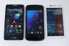 Lot of 3 Various Working Android Smartphones - Razr Maxx / Galaxy Nexus / Moto X