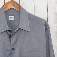 ARMANI Collezioni Men's Button Front Dress Shirt Gray Mini Print Size 16 1/2 R