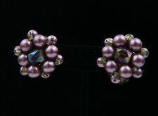 Aurora Borealis 50s VTG Purple Earrings Cluster Pink Mauve Crystal 60s 1950s