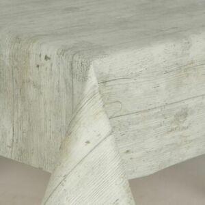 White Wash Beach Drift Wooden Plank Rustic Wood Oak Effect PVC Vinyl Table cloth