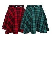 New Women's Red and Green Tartan Check Print Belted Skater Flared Skirt UK 8-22