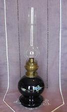 ANCIENNE LAMPE A PETROLE BOULE EN PORCELAINE SUR PIED DOUCHE AVEC GLOBE