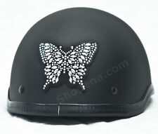 Butterfly Rhinestone Helmet Patch Silver 3M Decal Biker MX ATV Sticker Racing +