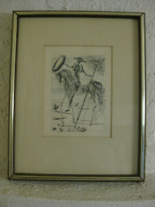 Vintage SALVADOR DALI Etching DON QUIXOTE Surrealism C.O.A. Collectors Guild Ltd