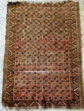 Vintage small Caucasian carpet hand made, worn even pile 50�x36�