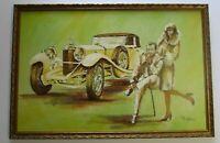 LARGE VINTAGE 1970'S POP ART PAINTING CLASSIC CAR AND PORTRAIT RETRO MODERNISM