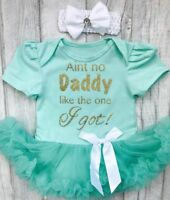 BABY GIRLS DADDY Quote tutu dress NEWBORN Present LOVE Princess Cute DADDYS GIRL