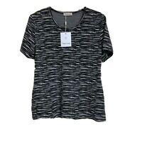 Ladies Womens Short Sleeve Black/White Jaquard Casual Smart Top Size 12-24(RE07)