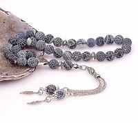 Blue Agate Genuine Stone Islamic Prayer 33 beads Tasbih Misbaha Tasbeeh 8mm