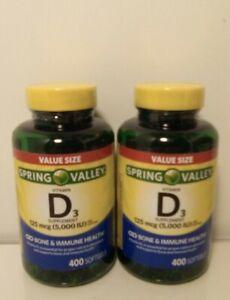 2 spring Valley Vitamin D3 Supplement 125mcg 5,000 IU 400 Softg each  Exp 6/23