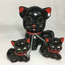 Vintage Redware Black Mother Cat and Kittens On Chain Japan Green Eyes Ceramic