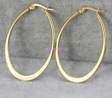 High Polished New Gold Tone 316L Stainless Steel Oval Hoop Earrings Anti-allergy