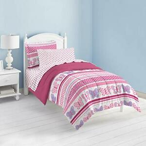 Dream Factory Butterfly Dots Ultra Soft Microfiber Girls Comforter Set Pink Twin