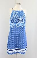 NWT Skies are Blue Stitch Fix Blue Geometric Floral Print Shift Dress Size M