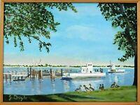 "M.JANE DOYLE SIGNED ORIGINAL ART OIL/CANVAS PAINTING ""OXFORD FERRY""(SEASCAPE)FR."