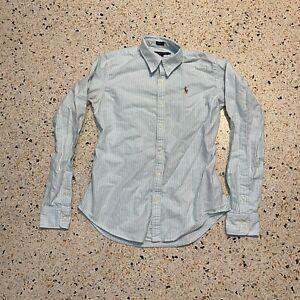 Ralph Lauren Button Up Shirt Womens Size 4 Blue White Slim Long Sleeve Ladies